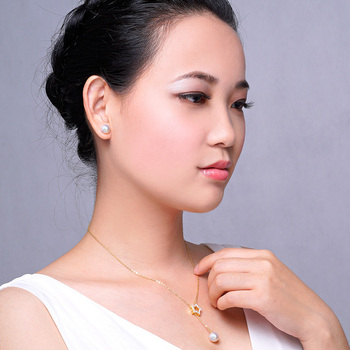 Gold Stud Earrings with 6-9 mm White Japanese Pearl 5