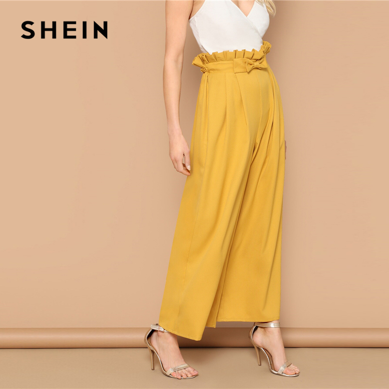 SHEIN Bow Detail Paperbag Waist Fold Pleat   Wide     Leg     Pants   Elegant Elastic Waist Loose Trousers Yellow High Waist   Pants