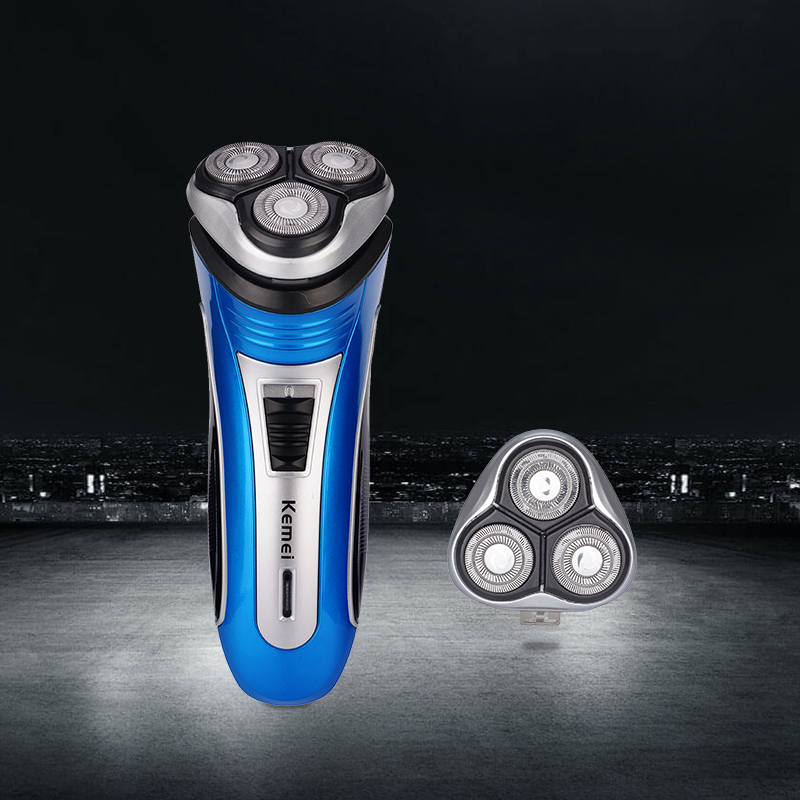 Kemei 3D Перезаряжаемые триммер для бороды резак тройной плавающей лезвие из нержавеющей электробритва бритва удаление волос Для мужчин Уход ...