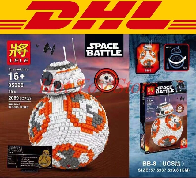 2017 DHL BB8 LELE 35020 UCS 2069 PCS Star Wars Robot Model Building Block Bricks Brinquedos Kits Set Crianças Presentes