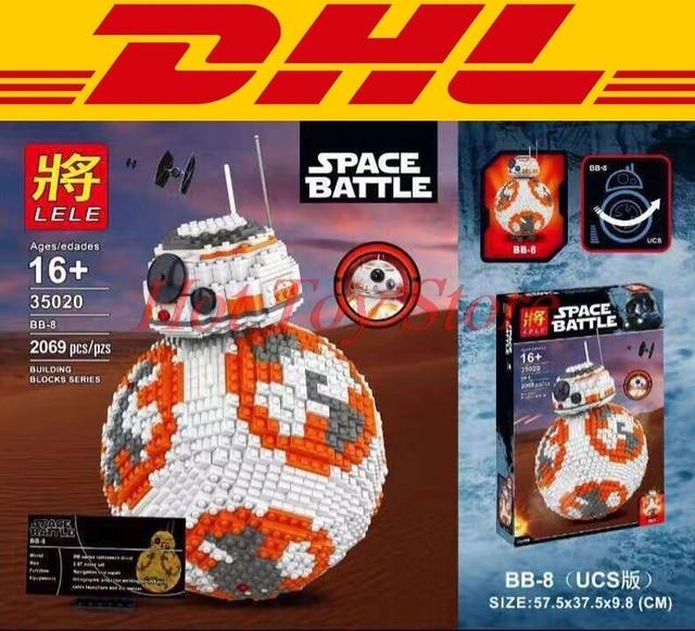 2017 DHL BB8 LELE 35020 UCS 2069 PCS Star Wars Robot Model Building Block Bricks Brinquedos Kits Set Crianças Presentes