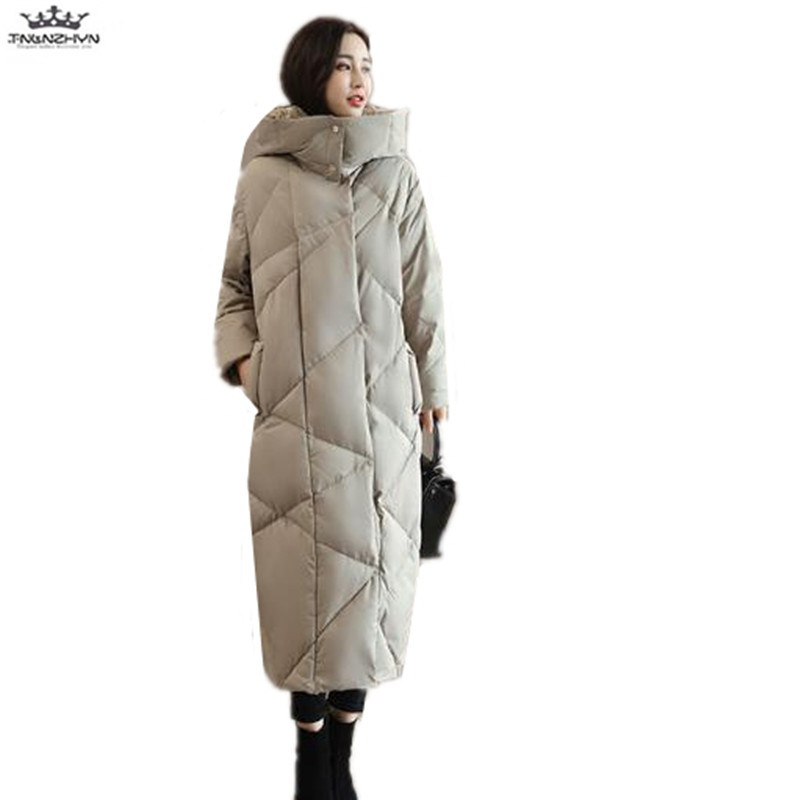 цены tnlnzhyn 2017 New Winter Women Coats Fashion Slim Hooded Coats Extra long Down Cotton Jacket Thick Warm Down Jacket Y897