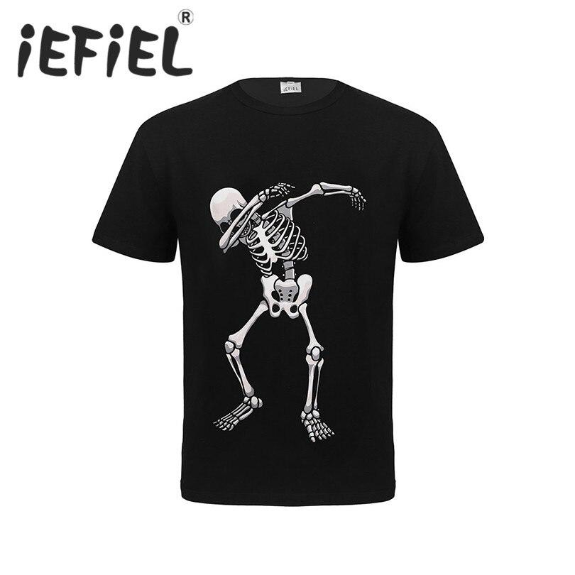 Fashion Mens T Shirt Short Sleeve O-Neck T-Shirt Men's Halloween Costume Clothing Short Sleeve Screw Neck Soft T-shirt Tops