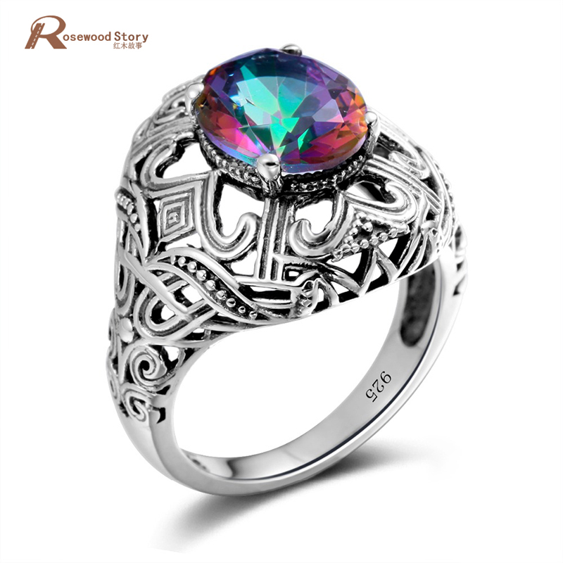 Elegant Vintage Rainbow Fire Mystic Topaz Crystal Handmade Ring For Women Pure 925 Sterling Silver Fine Jewelry Lady Finger Ring