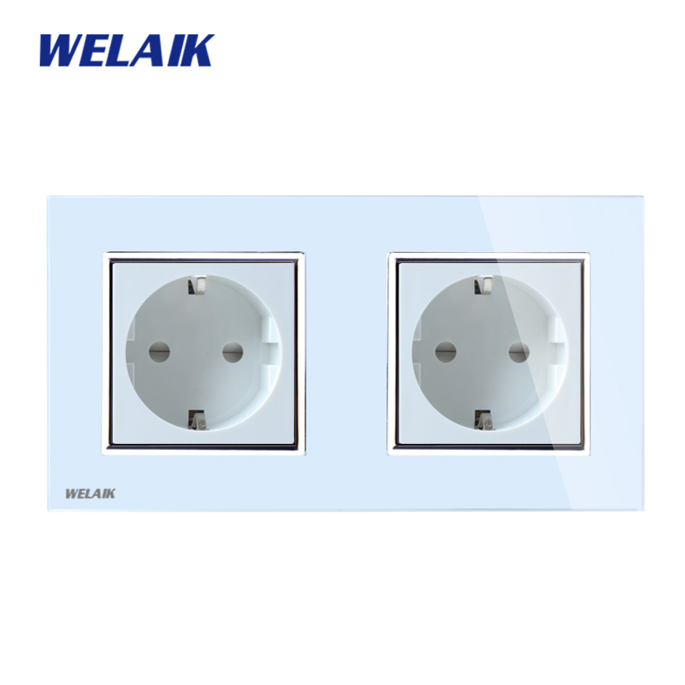 цена на WELAIK Brand Glass Panel Wall Socket Wall Outlet White Black European Standard Power Socket AC110~250V A28E8EW/B