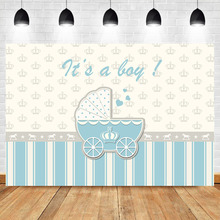 NeoBack Gender Reveal Baby Shower Photo Backdrop Boy Carriage Bule Crown Photography Background