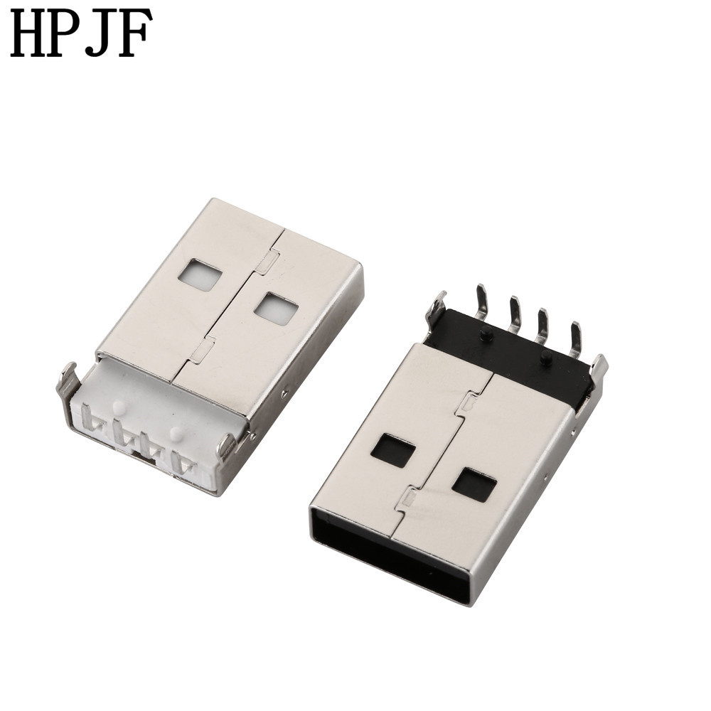 10pcs/lot USB 2.0 Male A Type USB PCB Connector Plug Right Angle 90 degree DIP Male USB Connectors