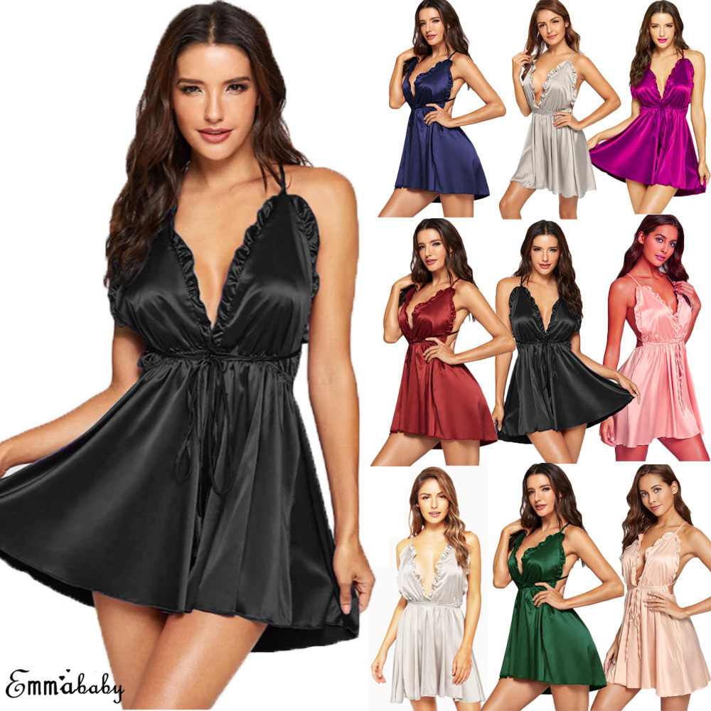 New Hot Sexy Women Lingerie Mini Dress Babydoll Ladies Underwear Sleeveless Nightwear Backless Sleepwear V Neck Nighty S-XL 2019 5