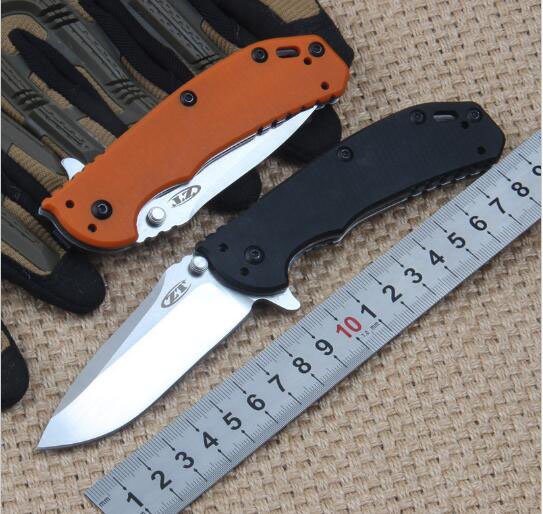 High end ZT0566 flipper D2 blade folding font b knife b font G10 handle ball bearing