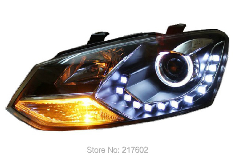 for Volkswagen VW CROSS POLO head lights 2012 year V1 with Angel Eye & DRL Light LF  шины good year 195 55r15 85v nct5 polo