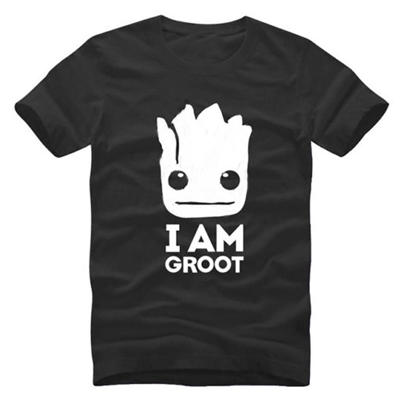 T Shirt Men Plus Size Graphic Tees Mens T Shirts Fashion 2018 Tops Tshirt I AM GROOT Cool Loose BASIC Short Sleeve Black Xs-3xl