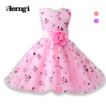 Berngi Flower Girl Dress A-line Lining Cotton Summer Princess Wedding Birthday Party Dresses For Size 3-8 Years
