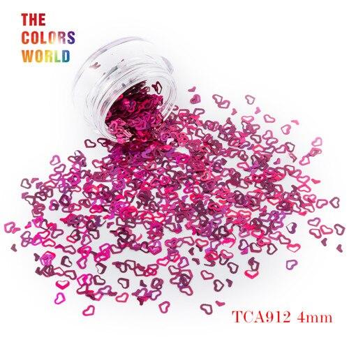 Tct-050 полые сердца Форма Лазерная красочные Глиттеры для ногтей 4 мм Размеры для ногтей Гели для ногтей украшения Макияж facepaint DIY украшения - Цвет: TCA912  50g