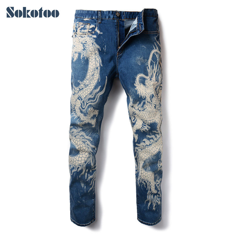 Sokotoo Men's Fashion Dragon Print Jeans Male Colored Drawing Painted Slim Denim Pants Elastic Black Long Trousers