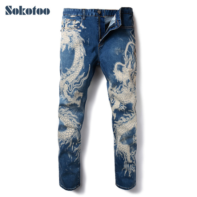 Sokotoo мужские Модные джинсы с принтом дракона Мужские цветные нарисованные узкие джинсовые брюки эластичные черные длинные брюки