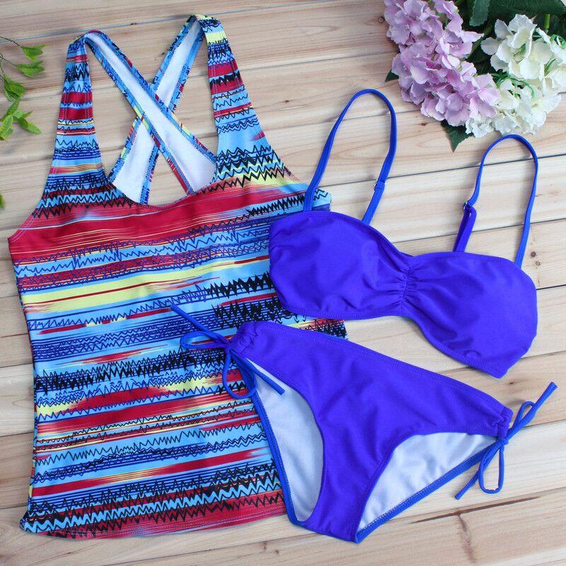 Wingteng 2018 Танкини Топ бикини установить купальники Женский подтолкнуть вверх бикини два кусок купальник купальный костюм женщины сплошной Пляжная одежда