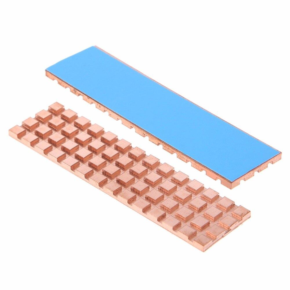 Adhésif conducteur thermique de radiateur de refroidisseur de radiateur de cuivre pour M.2 NGFF 2280 PCI-E NVME SSD 67*18mm épaisseur 2mm/3mm/4mm C26