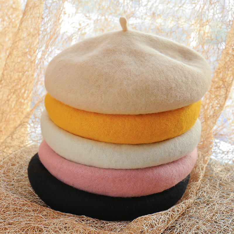 Women Hats Autumn winter Warm Wool Berets Student Painter Wild Solid Color Pumpkin hat lady Casual Beret Cap Wholesale in Women 39 s Berets from Apparel Accessories