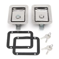 2Pcs/set Stainless Steel Paddle Door Lock Latch Handle Truck Tool Box Trailer With Key