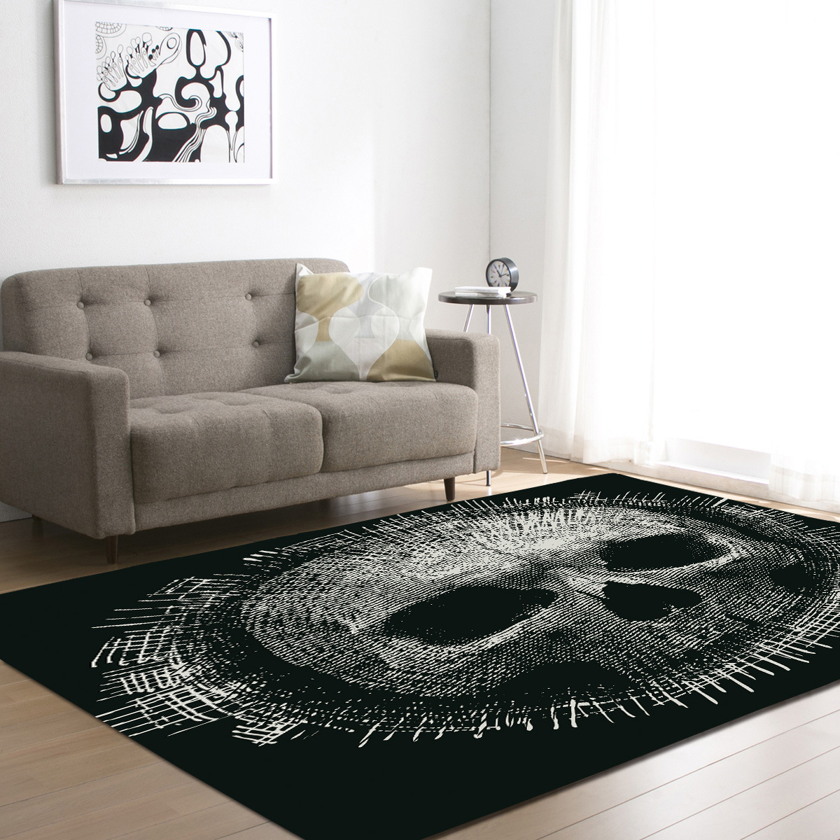 3D tapis noirs imprimés par crâne de sucre pour la pièce de literie de salon grand tapis de zone de Rectangle tapis extérieurs modernes de tapis