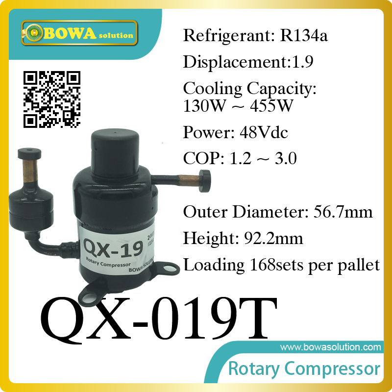 DC48V compressor (130W~455W cooling capacity) suitable for solar mobile fridge and solar refrigerator or solar freezer 690w cooling capacity coolant compressor r134a suitable for single door commerce stainless steel display and freezer