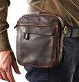Men Oil wax Genuine Real Leather Cow Hide Shoulder Messenger Pack Vintage Belt Cell/Mobile Phone Pack Fanny Waist Bag