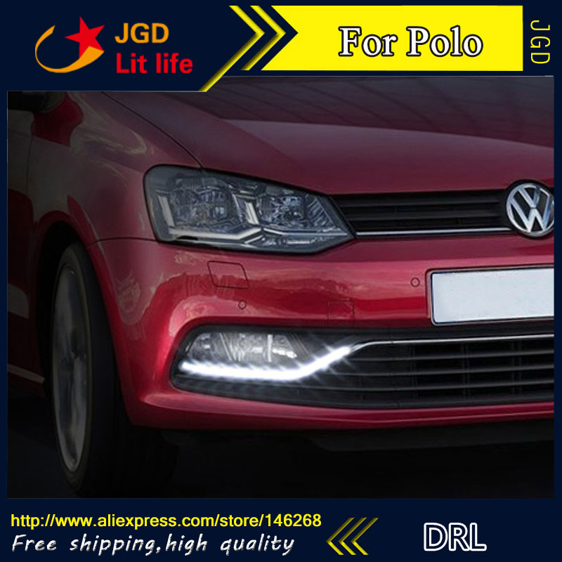 Free shipping ! 12V 6000k LED DRL Daytime running light for VW Polo 2014 2015 fog lamp frame Fog light Car styling free shipping new pair halogen front fog lamp fog light for vw t5 polo crafter transporter campmob 7h0941699b 7h0941700b