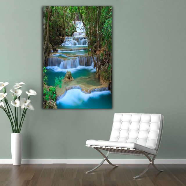 Embelish 1 Pieces Modern Wall Art Posters For Living Room Waterfall Landscape Pictures Home Decor HD Print  Canvas Oil Paintings