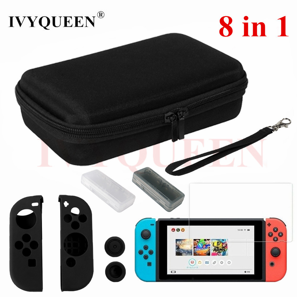 IVYQUEEN 8 in 1 for Nintend Switch NS NX Console Carrying Storage Bag Tempered Glass Screen