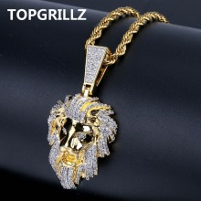 TOPGRILLZ хип хоп золото цвет покрытием Iced Out Micro Pave кубический циркон подвеска с изображением Львиной головы цепочки и ожерелья Шарм для мужчин Jewelry подарки