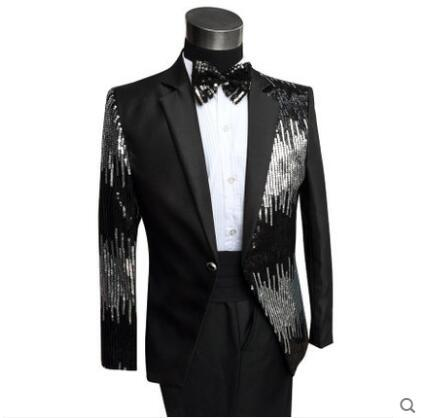 Black Or Red Sequins Men Suit Set  Bar Nightclub Male Singer Wedding Costume  Slim Unique Individuality Performance Stage Wear