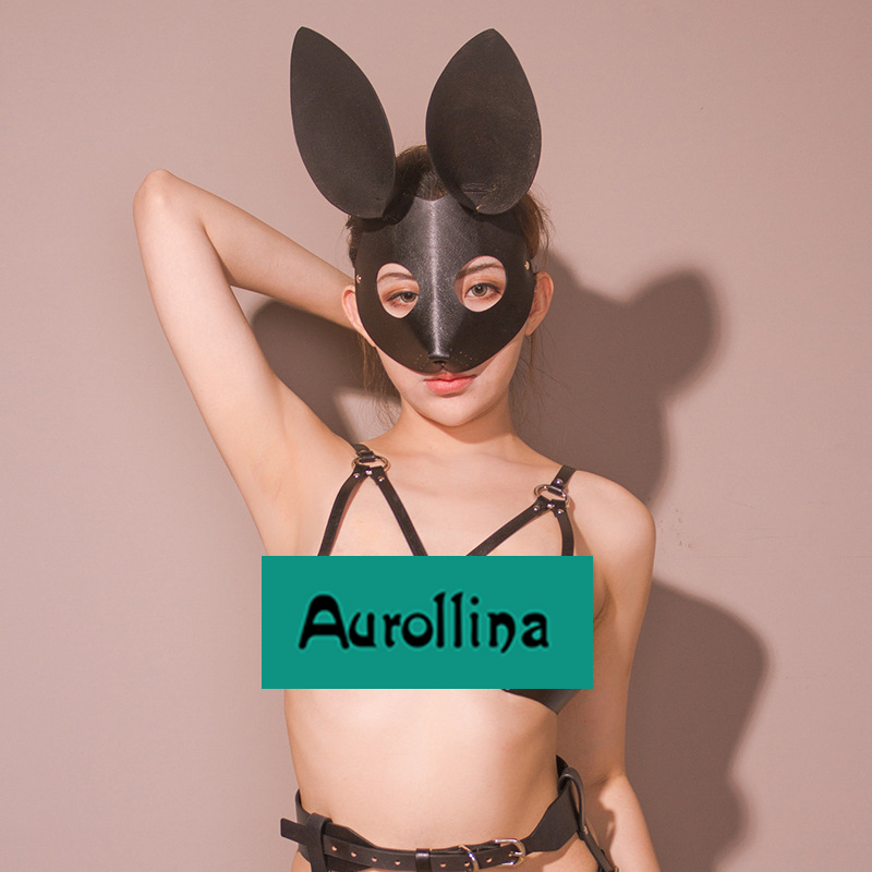 Masquerade Leather Rabbit Mask Cosplay Halloween Bunny Woman Face Real Cow Head Harness BDSM Gear Kits  Toys
