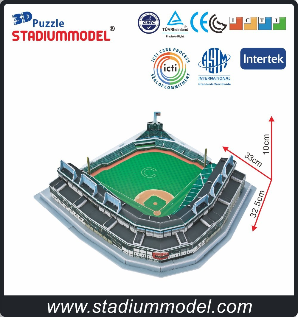 e054eb1b977 MajorLeagueBaseball MLB Chicago Cubs Home Wrigley Field Stadium 3D Puzzle  Model Paper-in Puzzles from Toys   Hobbies on Aliexpress.com