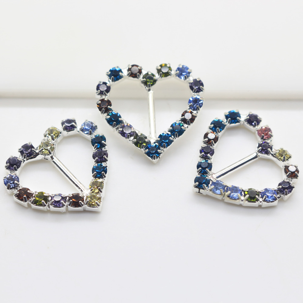 10pcs/set Heart Shiny Rhinestone Buckle colorful crystal Diamond ...