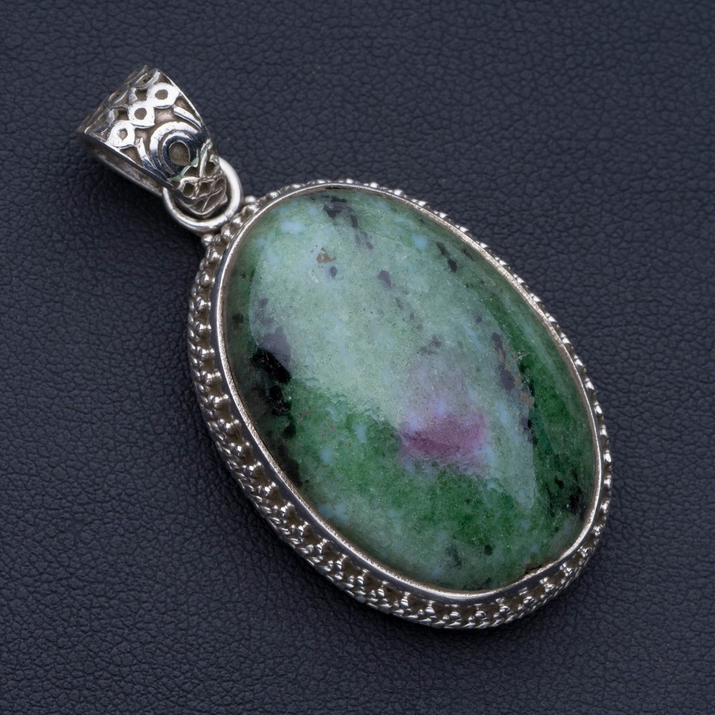 Natural Ruby Zoisite Punk Style 925 Sterling Silver Pendant 2 P0763Natural Ruby Zoisite Punk Style 925 Sterling Silver Pendant 2 P0763