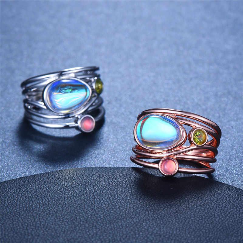 คริสตัลหญิงใหญ่แหวนมูนสโตนแฟชั่น 925 เงินสเตอร์ลิง Rose Gold เครื่องประดับงานแต่งงานสัญญารักหมั้นแหวน