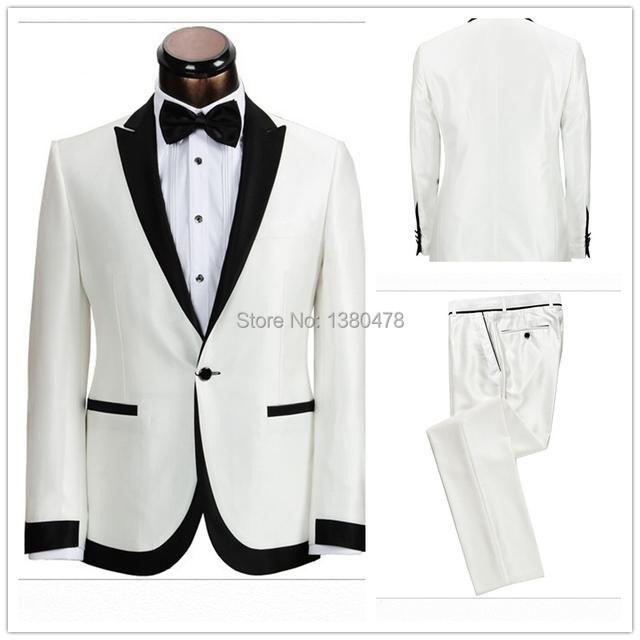 Frete grátis 2016 noivo smoking de casamento dos homens melhor homem terno ( jacket + pants + gravata ) smoking branco preto de lapela