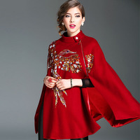 Women Fashion Autumn Winter Thick Woolen Cloak Heavy Embroidery Beading Bird Black Red Wool Poncho Coat