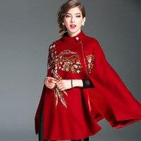Women Fashion Autumn Winter Thick Woolen Cloak Heavy Embroidery Beading Bird Black Red Wool Poncho Coat