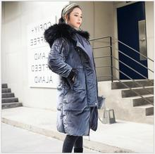 2017 Winter new fashion temperament in the long section hooded large collar cotton clothes warm loose velvet down  jacket fem