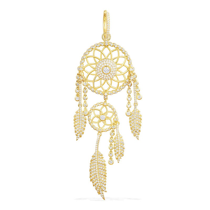 SLJELY Luxury 925 Sterling Silver Yellow Gold Color Statement Dream Catcher Earrings Cubic Zirconia Stones Feather
