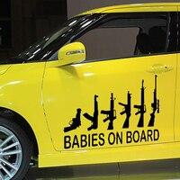 58 سنتيمتر x 48.33 سنتيمتر 2 × الأطفال على متن سلاحي الأسرة (واحد لكل جانب) الفينيل صائق نافذة جدار مضحك ملصق سيارة