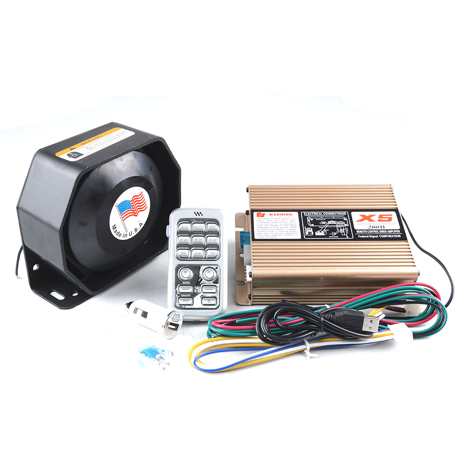 ФОТО 200W 12V Police Siren X5 Electrical Car Siren Alarm Siren+ Ultra Slim Speaker Wireless Remote Control Alarm Police Horn