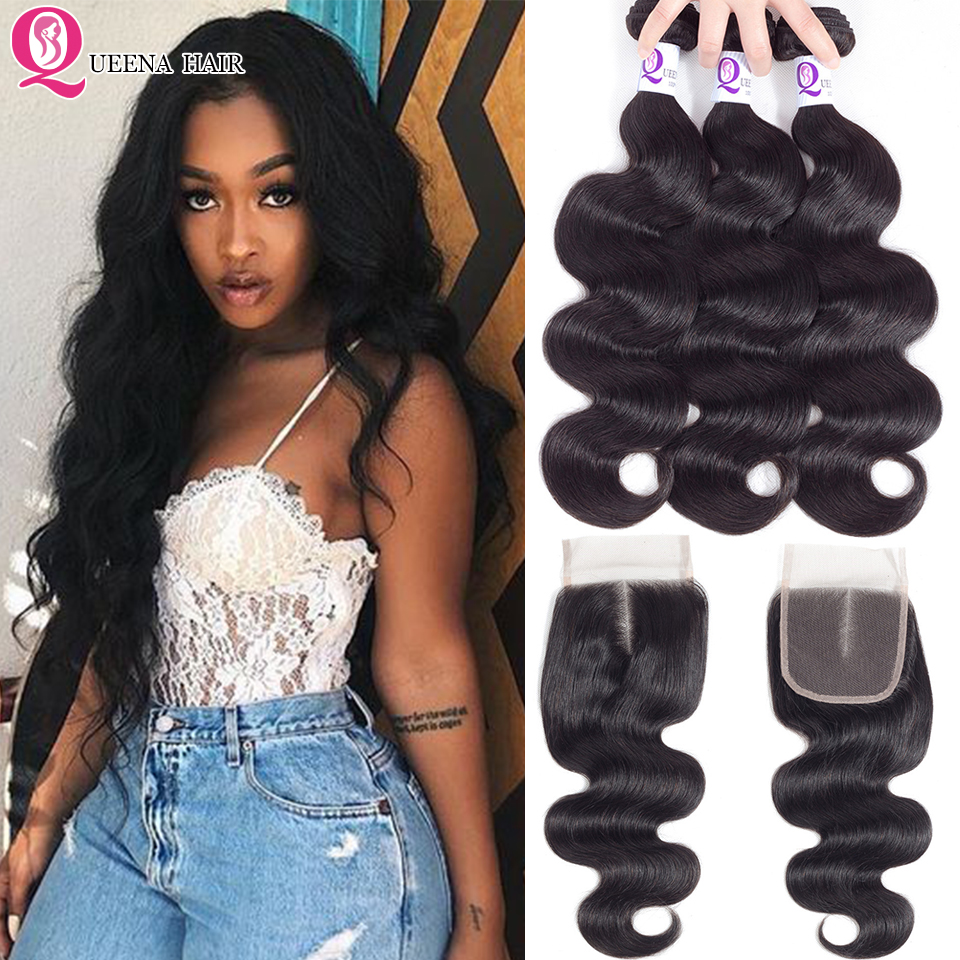 Cheap 8A Brazilian Human Hair Wavy Weave 3 Bundles With Closure Unprocessed Virgin Hair Body Wave Bundles With 4X4 Lace Closure