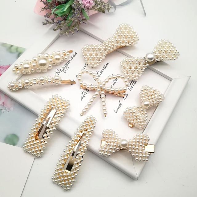 新ファッション真珠女性のためのエレガントな韓国デザインの真珠の金属のヘアクリップスタイリングアクセサリー