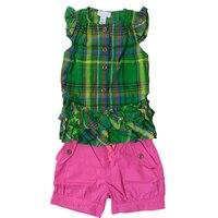 Summer Kids Girl Clothing Set 2017 Fashion Plaid T Shirt Short 2pcs Girl Kids Clothing Set