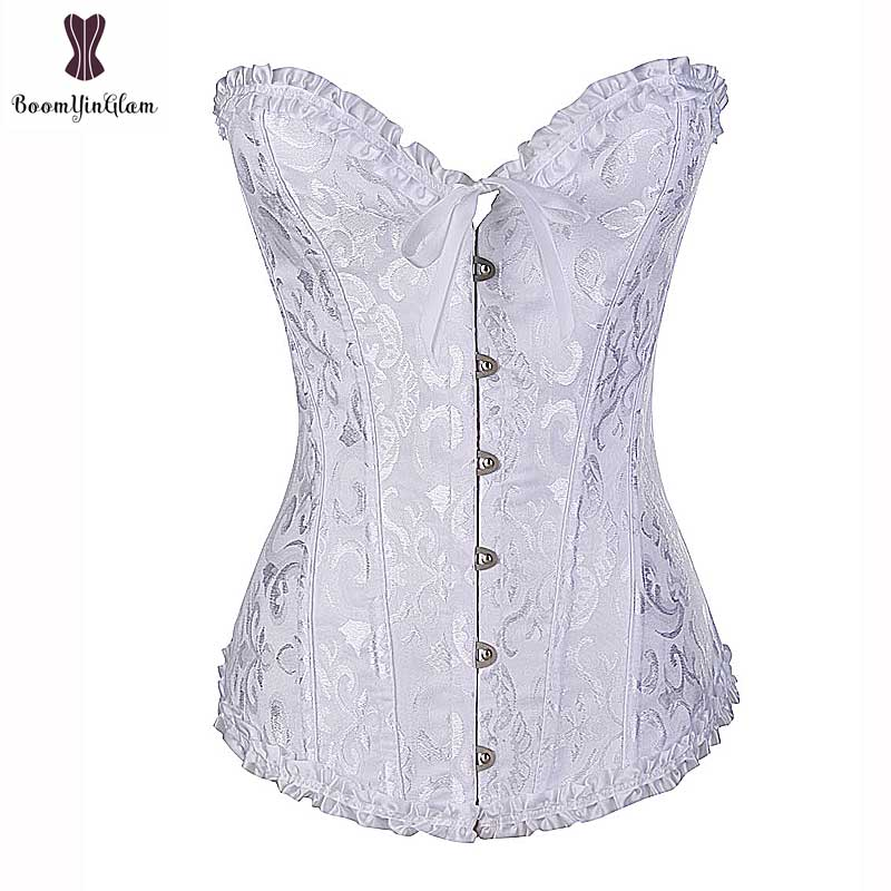 Lace Up Corset Overbust Waist Trainer Sexy Boned Elegant White Purple Beige Corset Corselet for Bridesmaid Wedding Dress Top