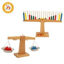 Montessori Material Wooden Weight Scale Arithmetic Balance Colorful Baby Math Toy Early Education Home School Teaching Aids geek king montessori teaching aids balance scale baby balance game early education wooden puzzle children toys