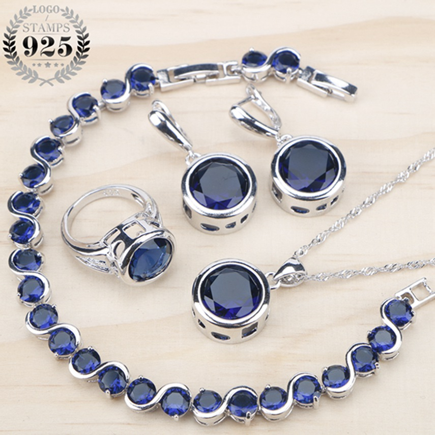 Ladies Silver 925 Jewelry Sets For Women 2018  Blue Cubic Zirconia Rings/Bracelets/Earrings/Pendant Necklace Set Free Gift Box(China)