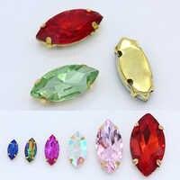 Alle-größe Navette/Pferd auge 24-farbe nähen kristall glas stein nähen auf strass/diamantes/ montees/juwelen/perlen 4-Loch gold klaue